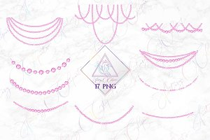 Pink Diamond Strands Clipart