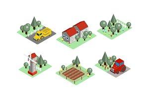 Vector set of isometric farm icons