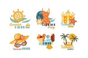 Flat vector set of colorful summer