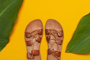 Brown Greek Leather Summer Sandals