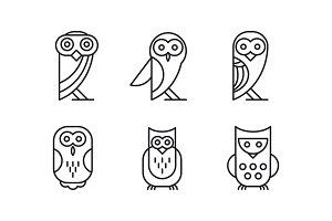 Vector set of 6 different owl