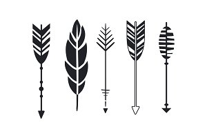 Vector set of hipster arrows and