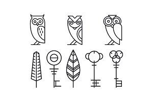 Set of 8 decor elements owls, keys