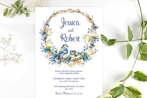 Romantic Navy Wedding Invitation