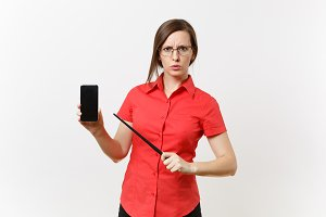 Strict severe serious teacher woman