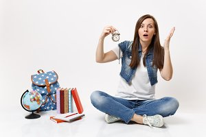 Young shocked irritated woman studen