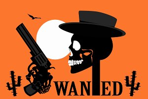 Wild west skull icon background