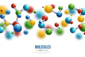 Colorful 3d molecules border