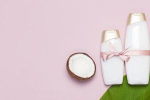 Cosmetics shower gel, ripe coconut