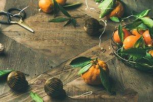 Fresh tangerines, decoration toys