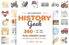 20 Century History.Color line Icons by  in Icons
