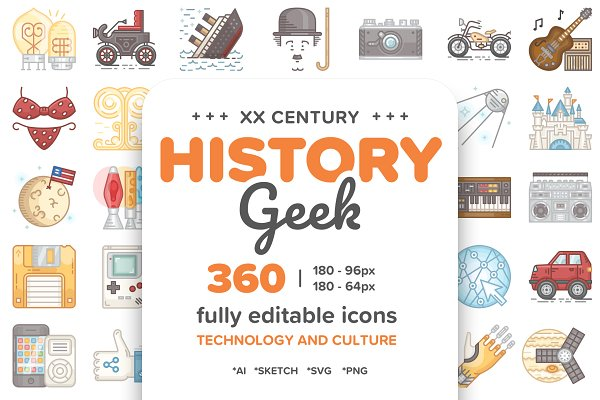Icons: Yeticrab - 20 Century History.Color line Icons