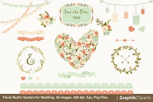 Floral Rustic Vectors for Wedding