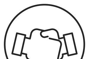 Handshake stroke icon, logo