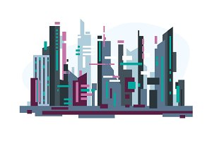 Futuristic city with skyscrapers