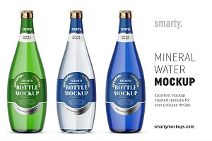 Glass mineral water bottle mockups