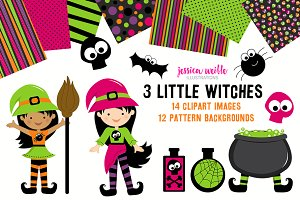 3 Little Witches Halloween Clipart
