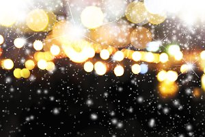 Abstract light bokeh with snow