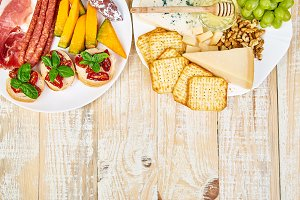 Italian antipasti wine snacks set