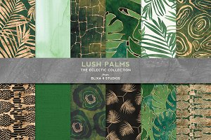 Lush Palms: Green & Golden Graphics