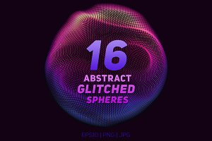 16 Abstract Glitched Spheres