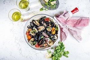 Homemade seafood Black pasta