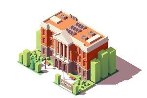 Vector isometric university building