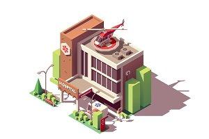 Vector isometric hospital building