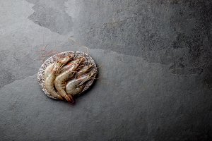 Raw whole fresh uncooked prawns