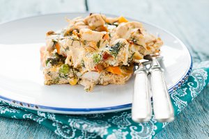 Serve the omelet with vegetables and
