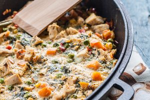 vegetable casserole baked in a cast-