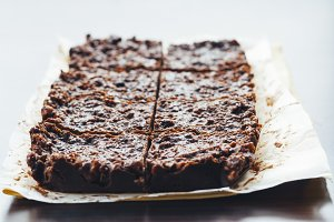 chocolate fudge with nuts, each piec
