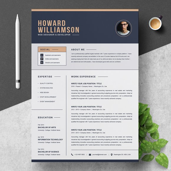 Resume Template Cv Cover Letter Resume Templates Creative Market