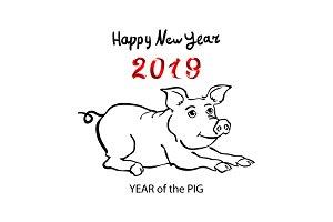 2019 Zodiac Pig. happy new year 2019