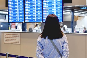 Asian woman travel at airport termin