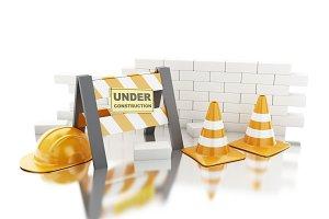 3d Traffic cones, Helmet and brick w