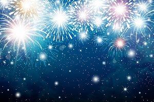 Fireworks on blue sky background