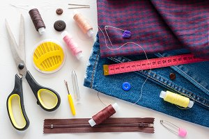 pieces of clothing and sewing items