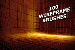 100 3D Wireframe Brushes & PNGs