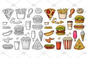 Set fast food engraving