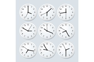 Clock Set with Different Time.