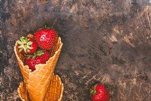 Fresh juicy strawberries in a waffle