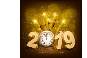 Happy New Year background with 2019.