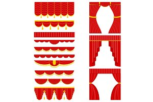 set of red theater curtain and