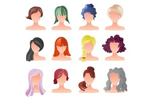Set of female hair style sprites