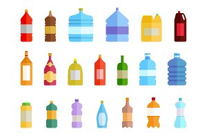 Plastic bottle water icon set. Color