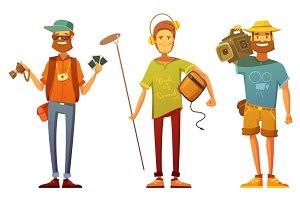 Journalists and artists cartoon set