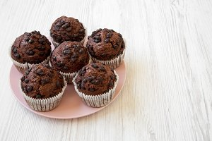 Chocolate muffins on pink plate
