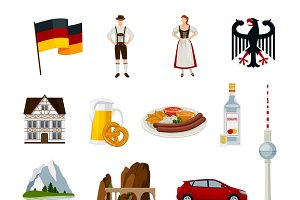 Germany flat icons collection