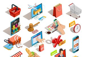 Online shopping isometric icons